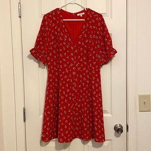 Madewell Silk Ruffle-Sleeve Button-Front Dress